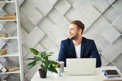 Smiling male working at laptop. Profile of happy businessman sitting at desktop in office. He is looking sideways with joy. Tablet, plant and coffee mug are Royalty Free Stock Photography