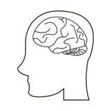 Profile head brain idea imagination outline Royalty Free Stock Photo