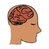 Profile head brain idea imagination sketch Royalty Free Stock Image