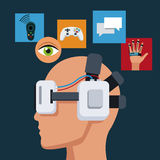 Profile head with headset virtual reality items Stock Photo