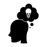 Profile head idea bubble thought silhouette Royalty Free Stock Images