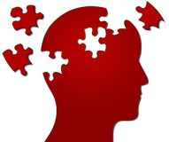 Profile of head with jigsaw pieces missing. Profile of a human head with jigsaw pieces missing, suggesting thought, consideration, stress, mental issues Royalty Free Stock Photo