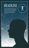 Profile of the head of a man. Brochure template Stock Images