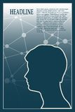 Profile of the head of a man. Brochure template Royalty Free Stock Photo