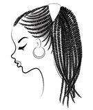 Profile of the head of a sweet lady. An African American girl shows her hairstyle on medium and short hair. Silhouette, beautiful. And stylish woman. Vector royalty free illustration