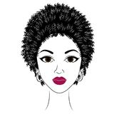Profile of the head of a sweet lady. An African American girl shows her hairstyle on medium and short hair. Silhouette, beautiful. And stylish woman. Vector vector illustration