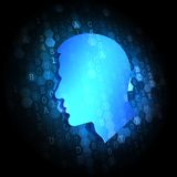 Profile of Human Head on Digital Background. Royalty Free Stock Photography