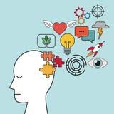 Profile human head puzzle focus innovation. Vector illustration eps 10 Stock Photos