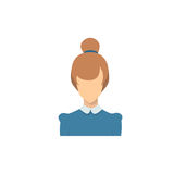 Profile Icon Female Avatar, Woman Cartoon Portrait, Casual Person Silhouette Face Stock Photo