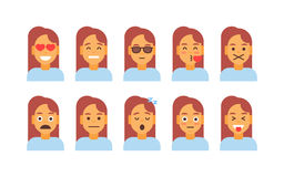 Profile Icon Female Different Emotion Set Avatar, Woman Cartoon Portrait Face Collection Royalty Free Stock Images