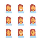 Profile Icon Female Different Emotion Set Avatar, Woman Cartoon Portrait Face Collection Royalty Free Stock Image
