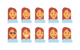 Profile Icon Female Different Emotion Set Avatar, Woman Cartoon Portrait Face Collection Stock Photos