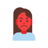 Profile Icon Female Emotion Avatar, Woman Cartoon Portrait Angry Red Face Stock Photo