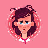 Profile Icon Female Emotion Avatar, Woman Cartoon Portrait Feeking Sick Face. Flat Vector Illustration Stock Images