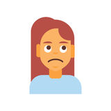 Profile Icon Female Emotion Avatar, Woman Cartoon Portrait Sad Face Royalty Free Stock Photos