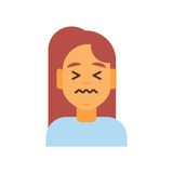 Profile Icon Female Emotion Avatar, Woman Cartoon Portrait Sad Face Royalty Free Stock Image