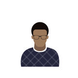 Profile Icon Male Avatar Man, African American Cartoon Guy Portrait, Casual Person Silhouette Face. Flat Vector Illustration Royalty Free Stock Photography