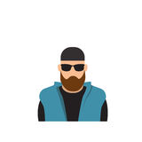 Profile Icon Male Avatar Man, Hipster Cartoon Guy Beard Portrait, Casual Person Silhouette Face Stock Photos