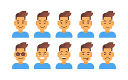 Profile Icon Male Different Emotion Set Avatar, Man Cartoon Portrait Face Collection Stock Photo