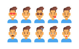 Profile Icon Male Different Emotion Set Avatar, Man Cartoon Portrait Face Collection Royalty Free Stock Photography