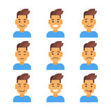 Profile Icon Male Different Emotion Set Avatar, Man Cartoon Portrait Face Collection Stock Photography