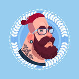 Profile Icon Male Emotion Avatar, Hipster Man Cartoon Portrait Serious Face Stock Image