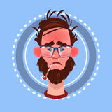 Profile Icon Male Emotion Avatar, Man Cartoon Portrait Feeking Sick Face. Flat Vector Illustration Royalty Free Stock Photos