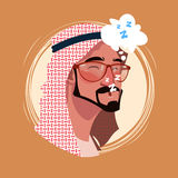 Profile Icon Male Emotion Avatar, Man Cartoon Portrait Tired Sleeping Face Stock Image
