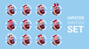 Profile Icon Male Emotion Avatar Set , Hipster Man Cartoon Portrait Faces Collection Royalty Free Stock Photo