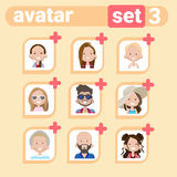 Profile Icon Male And Female Avatar Set, Man Woman Cartoon Portrait, Casual Person Face Collection Stock Images