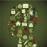 Profile icons. Over green background vector illustration Stock Image