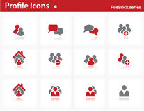 Profile icons set - Firebrick Series Stock Image