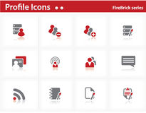 Profile icons set - Firebrick Series Stock Images