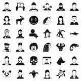 Profile icons set, simple style. Profile icons set. Simple style of 36 profile vector icons for web isolated on white background Stock Photos