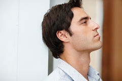 Profile image of thoughtful young man Royalty Free Stock Images