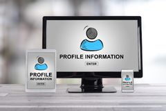 Profile information concept on different devices. Profile information concept shown on different information technology devices stock photo