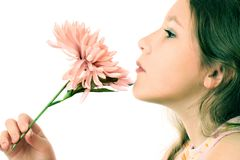 Profile of inspired girl child with flower. Profile of inspired girl child with flower isolated on white background Stock Photo