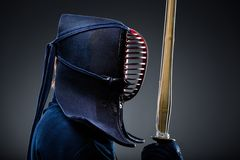 Profile of kendoka with shinai Royalty Free Stock Photography