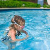 Profile of little girl enjoy in the swimming pool Stock Image