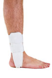Profile of Man with Bare Foot Wearing Ankle Brace Stock Image
