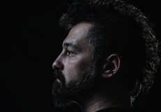 Profile of man with crest hairstyle and goatee beard. Low key man profile with crest hair Stock Photo