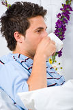 Profile of man drinking coffee Royalty Free Stock Photography
