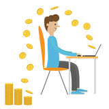 Profile man with laptop. Computer work. Sitting boy Chair table. Flying coin. Earning money. Office worker. Cute cartoon character Stock Photography