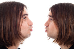 Profile of man making kiss face Royalty Free Stock Photography