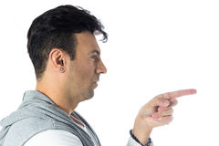 Profile of man pointing with his finger. Brazilian male wearing Royalty Free Stock Photos