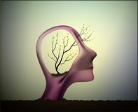 Profile of the man with tree growing inside his head, think positive, refresh the nerve system, Stock Photo