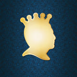 Profile of a man wearing a crown Royalty Free Stock Images
