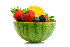 Profile of melon fruit bowl stock images