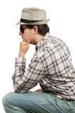 Profile men sitting hat and sunglasses Royalty Free Stock Images