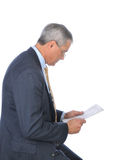 Profile Middle aged Businessman Reading Newspaper Stock Image